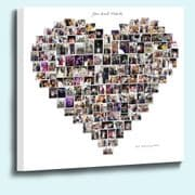 Amazing Personalised heart shape photo collage framed canvas print 18mm Deep